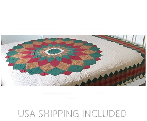 1920's Quilt 84 Inches by 96 Inches Pieced Sunburst Hand Quilted