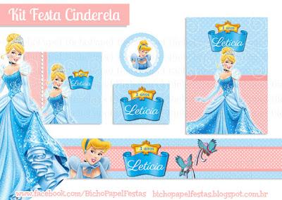 Kit Festa Cinderela Azul e Rosa