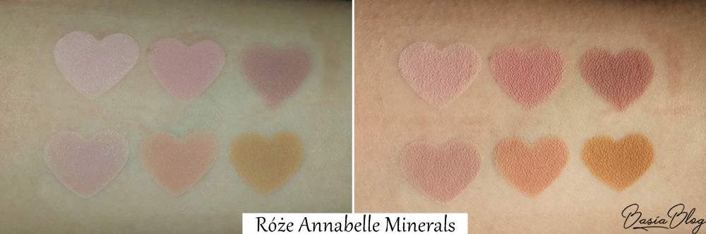 róż mineralny Annabelle Minerals, róże mineralne Annabelle Minerals wszystkie odcienie, Romantic, Rose, Coral, Nude, Sunrise, Honey, swatch, róże Annabelle Minerals
