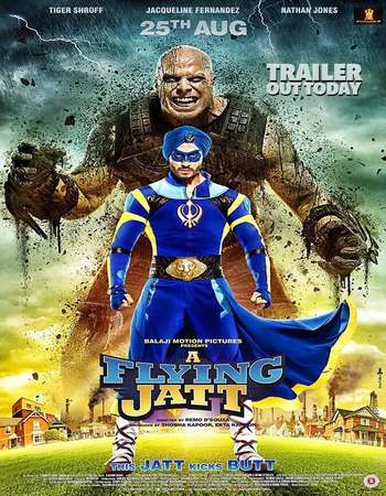 Poster Of A Flying Jatt 2016 Hindi 400MB HDTV 480p Watch Online Free Download downloadhub.in