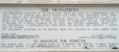 English inscription describing the Monument to the Great Fire of London