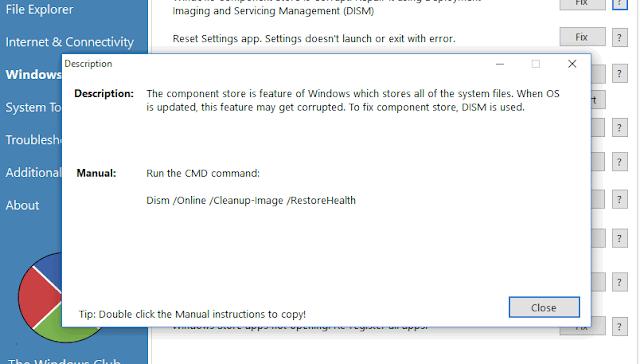 FixWin 10 descrizione riparazione problema