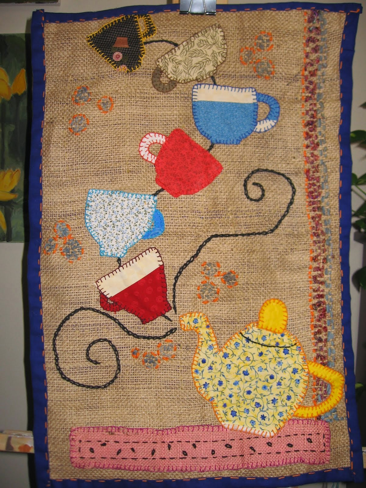 applique on gunny sack
