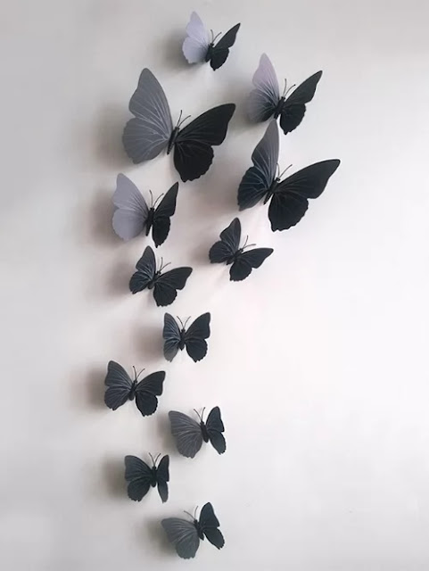 These butterfly wallpapers, I found in DRESSLILY for less than $20 and that makes them perfect for me because as I said I am into minimalism and I know that I might take them down after a month or so and I don't want to feel guilty throwing something that cost me tons of money.