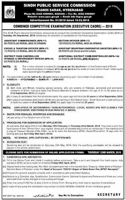 Jobs In Sindh Public Service Commission (SPSC) 2018 for 247 Posts