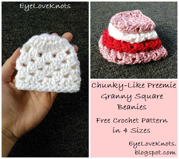 Free Crochet Chunky Newborn Hat Pattern : EyeLoveKnots: Chunky-Like Preemie Granny Square Beanies ...