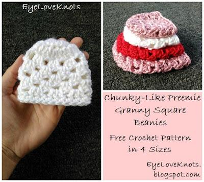Crochet Granny Square Beanie Pattern : EyeLoveKnots: Chunky-Like Preemie Granny Square Beanies ...