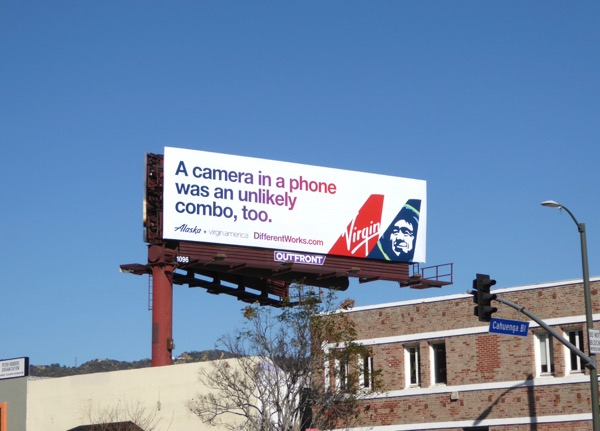 Alaska Virgin America Camera phone combo billboard