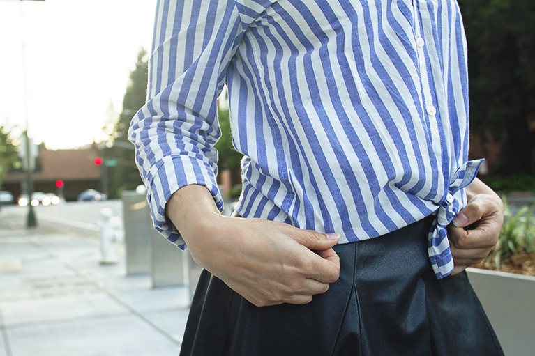 banana republic dillon blue and white striped shirt detail