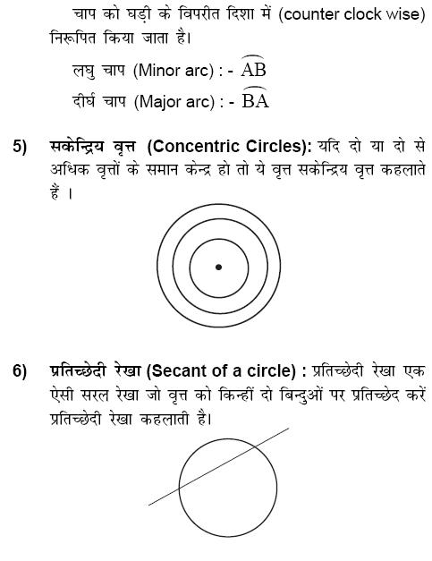 वृत्त (Circle):  वृत्त एक तल के उन सभी बिंदुओं का समूह होता है जो एक नियत बिंदु (Fixed points) से अचर दूरी (Constant Distant) पर होते हैं नियत बिंदु को वृत्त का केन्द्रक (Center of Circle) कहते हैं, बिंदुओं के समूह को वृत्त की परिधि (perimeter of circle) और अचर बिंदु से परिधि के बीच की दूरी को वृत्त की त्रिज्या (Radius of circle) कहते हैं , types of circle, properties of circle formula related to circle, for ssc cgl ibps bank po cleck sbi specilist officer