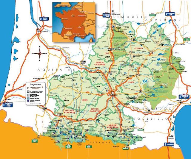 Mapa de la región de Midi-Pyrénées, Francia