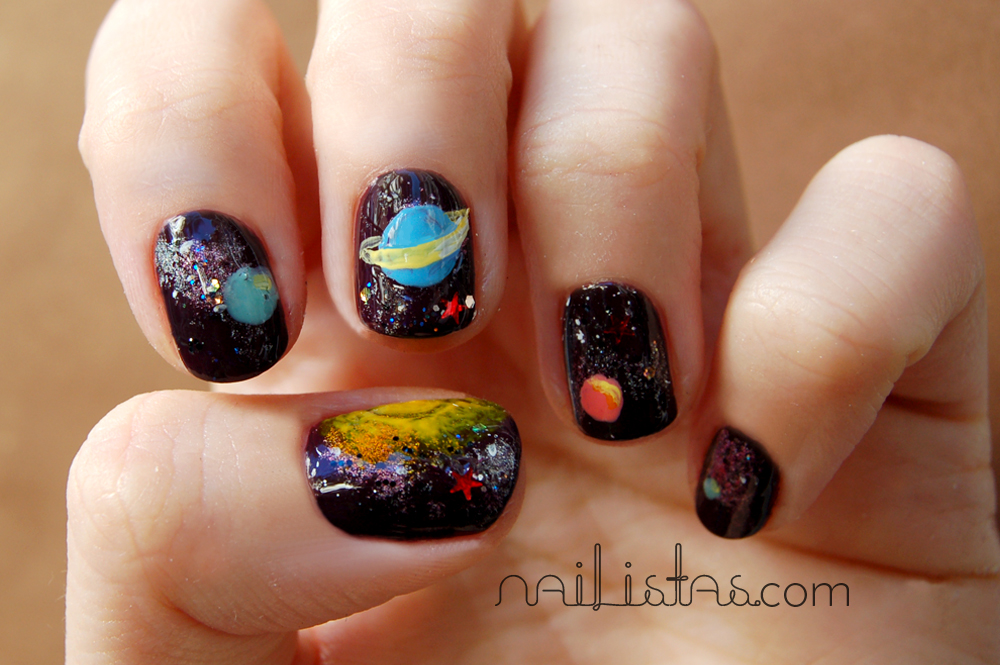 Uñas Decoradas Con Sistema Solar Manicura De Planetas