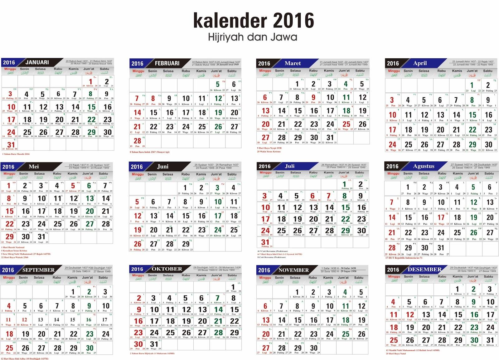 Kalender 2016 lengkap terbarutau for Da n