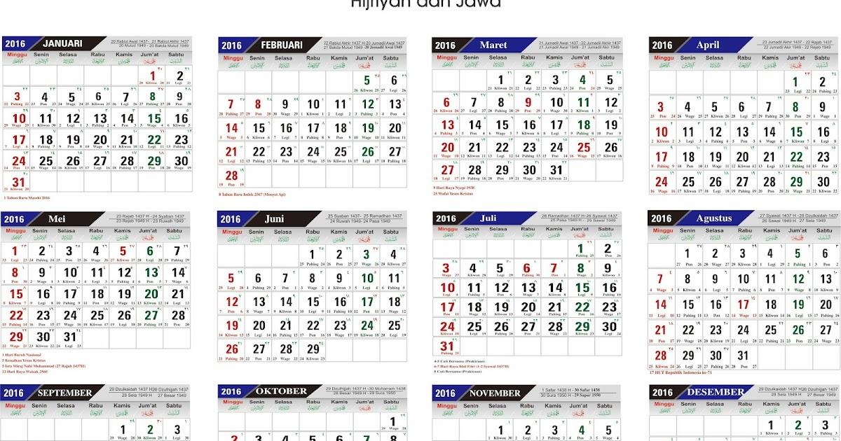 Kalender 2016 Lengkap Hijriyah Pdf