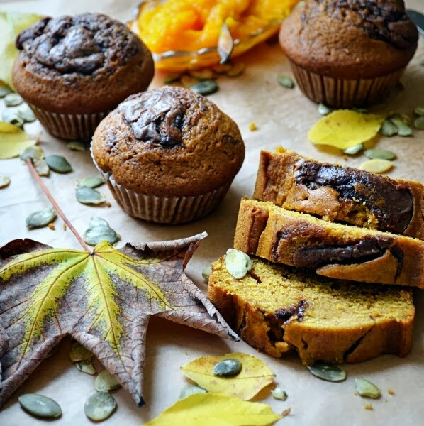 dynia, dyniowe ciasto, dyniowe muffiny, ciasto z nutella, przeoisy na dynie