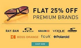 Flat 25% Additional Off on Premium Brand Sunglasses @ Lenskart