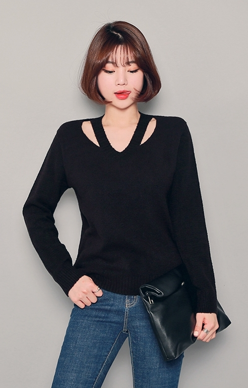 Cutout Neck Long Sleeve T-Shirt