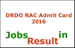 DRDO RAC Admit Card 2016