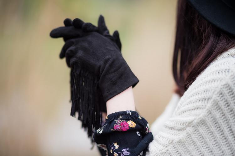 skórzane rękawiczki z frędzlami skóra naturalna