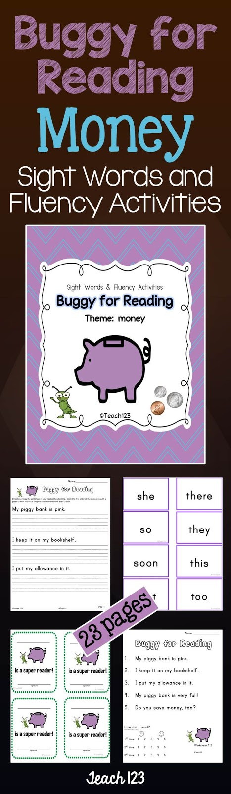Teach 123 Buggy for Reading Money Center at TeachersPayTeachers