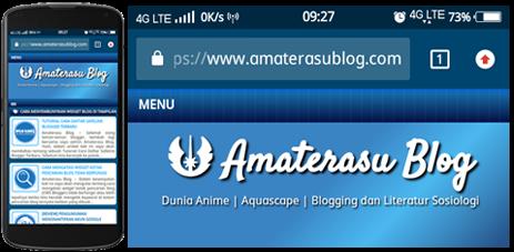 Warna address bar Amaterasu Blog jika dikunjungi mengunakan browser mobile tampilan address barnya berwarna