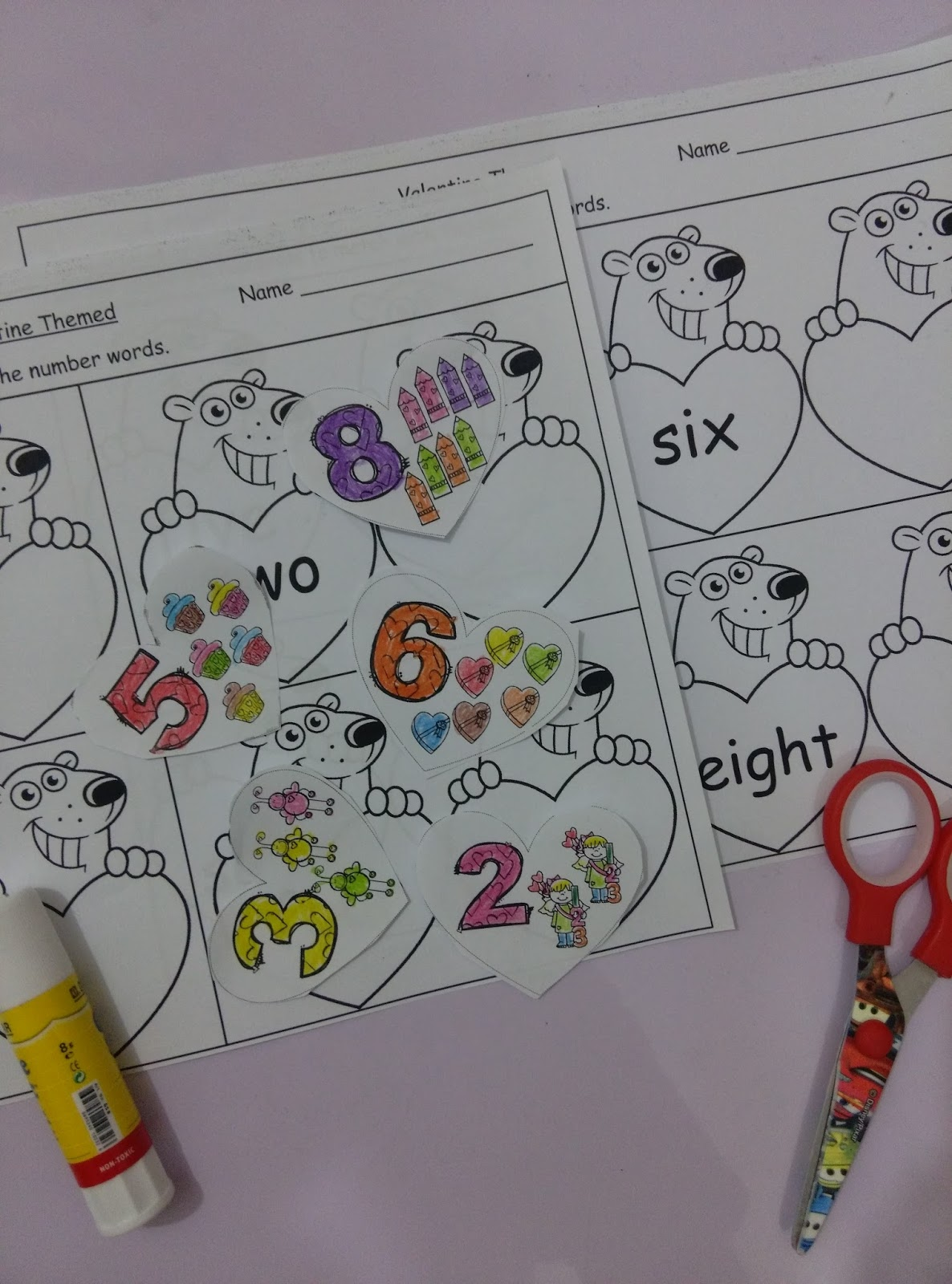 Kidslearningbasket Valentine Themed Number Words Cut And