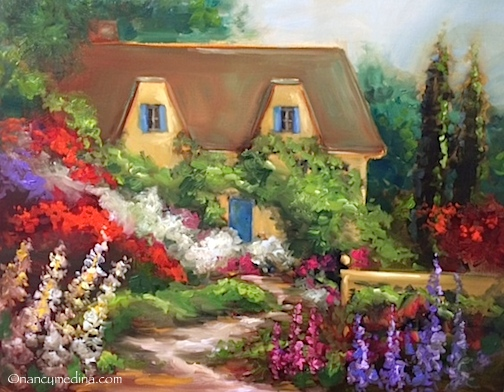 Nancy Medina Art English Garden Cottage