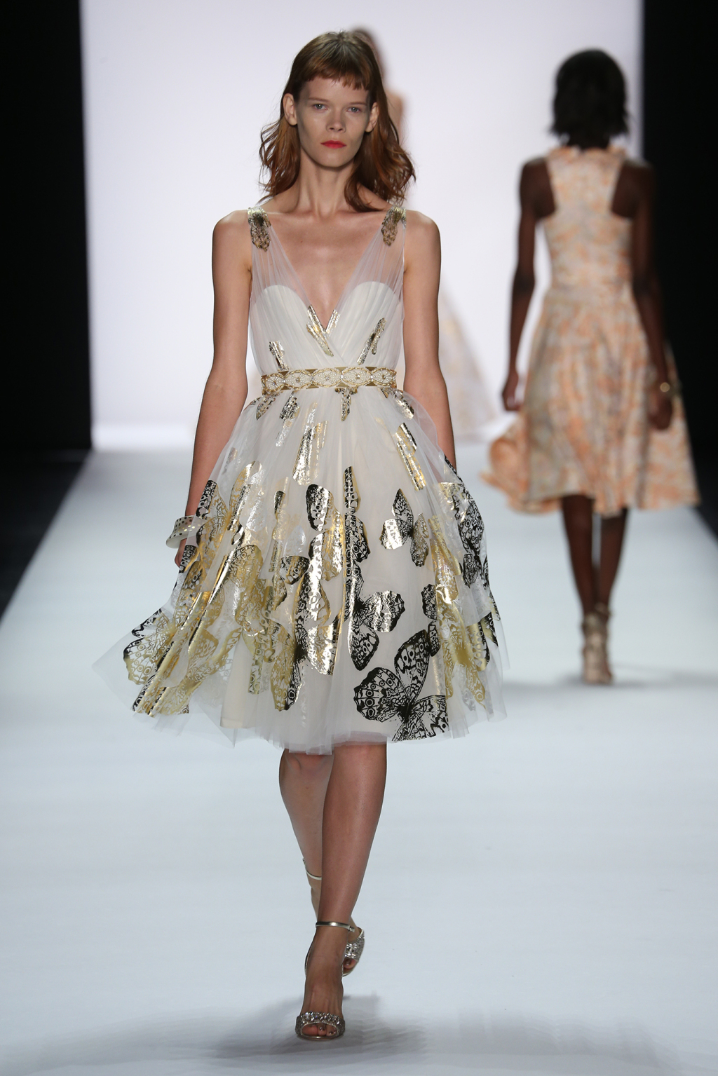 Lovely Floaty Ethereal Dresses With Foil Printed Gold And Silver Erflies For Badgley Mischka