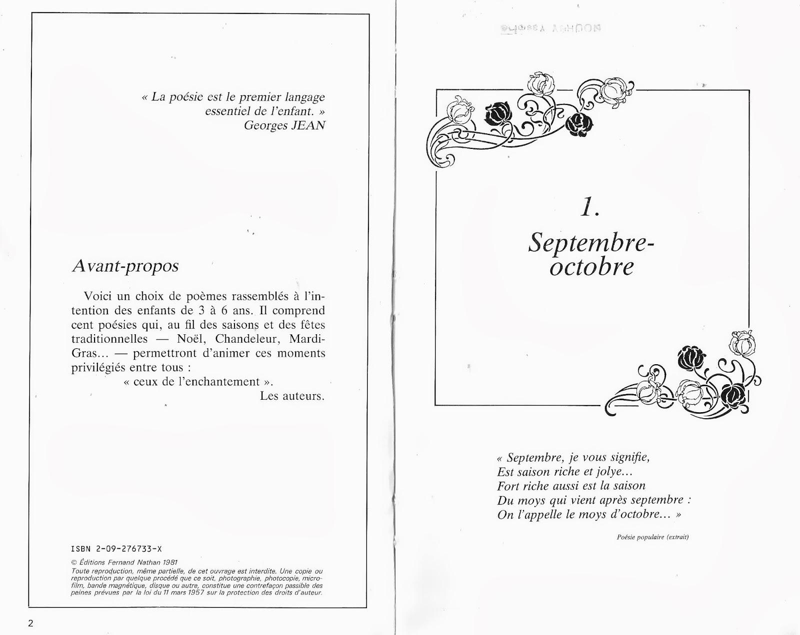 """Jean Renault, Françoise Laurent, 100 poèmes pour les enfants de 3 à 6 ans,  Collection """"Les mots en fête"""", Fernand Nathan, 1981."""
