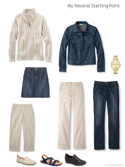 6-piece neutral starter wardrobe in khaki and denim