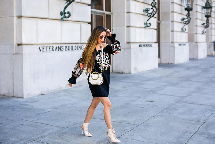 free people flour du jour dress, floral off shoulder dress, chloe nile bag, le specs sunglasses, kendra scott necklace, alice and olivia lace up heels, san francisco street style, san francisco fashion blog