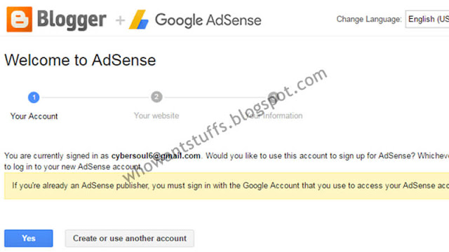 Sign Up for Adsense Via Blogger