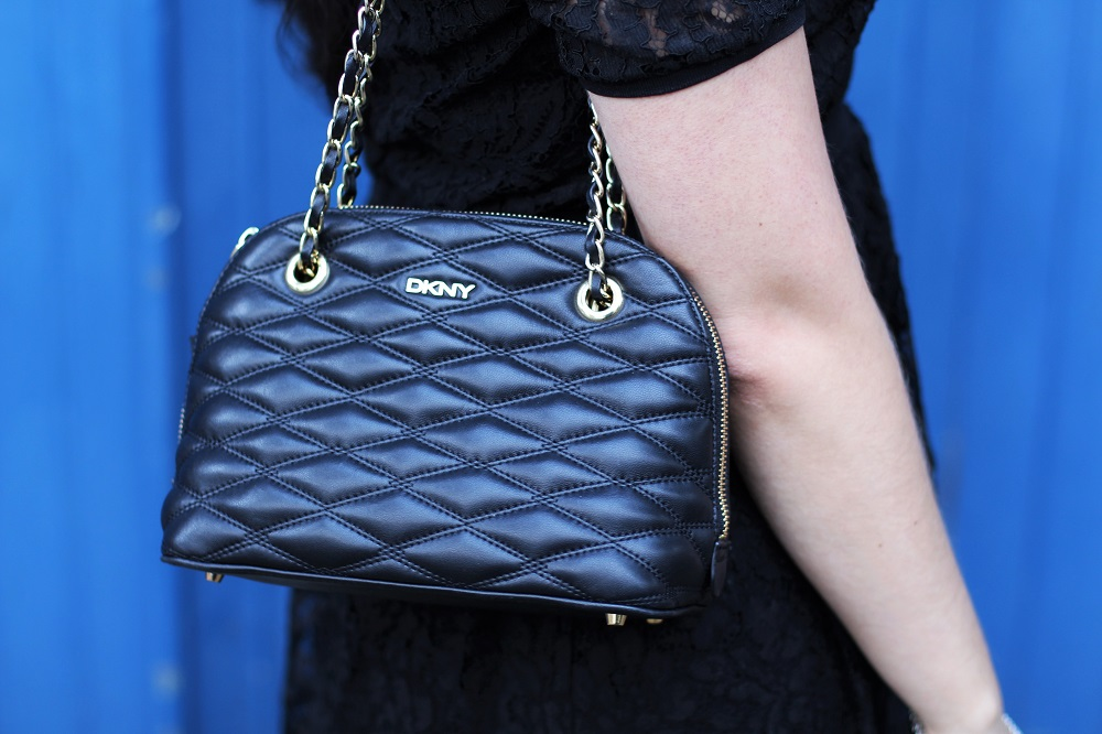 DKNY quilted black leather bag - UK fashion blog