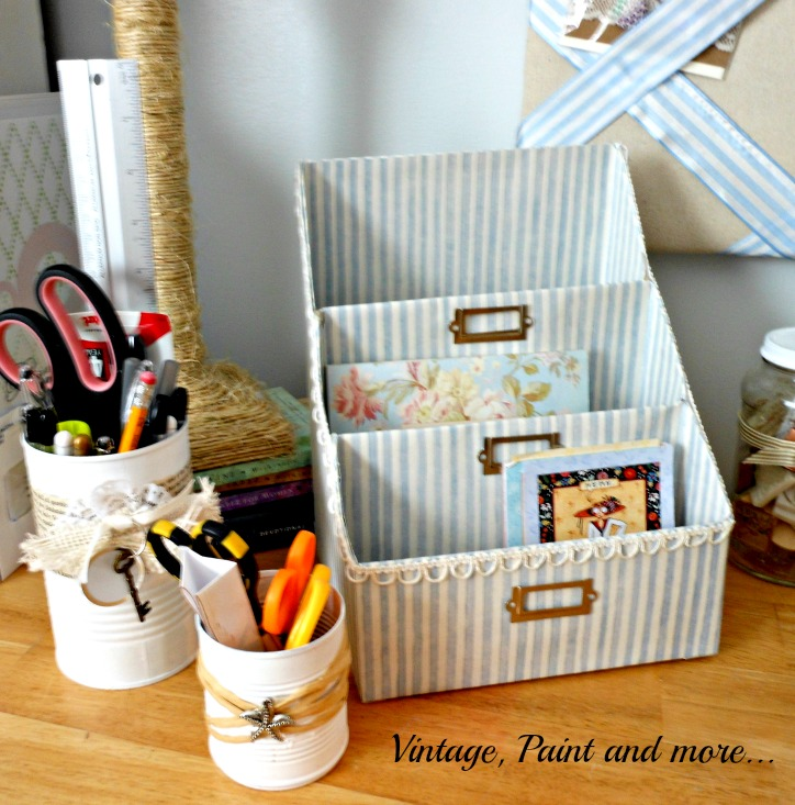 Vintage, Paint and more... diy paper organizer made from recycled cereal boxes and scrapbook paper