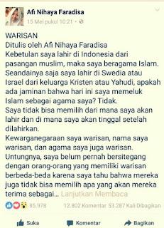 Jawaban Untuk Dek Alfi: Agama Islam Bukan Warisan!! Jangan Ngaco