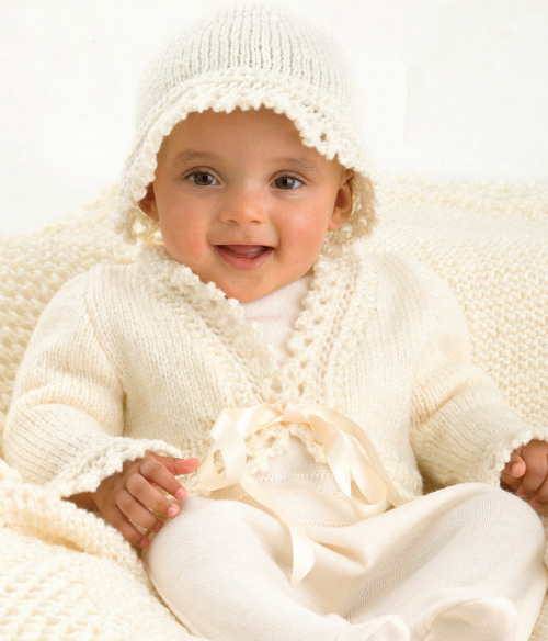 Lace Trim Jacket & Matching Hat - Free Pattern