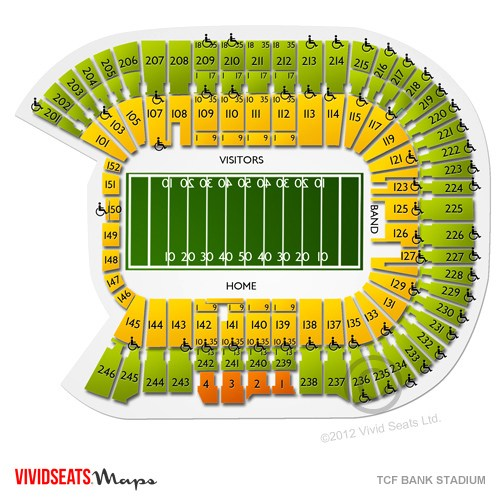 TCF Bank Stadium Seat Views SeatGeek - tcf stadium seating chart