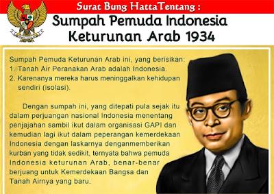 Surat Bung Hata: Sumpah Pemuda Indonesia Keturunan Arab dan Bedanya dengan Keturunan Cina