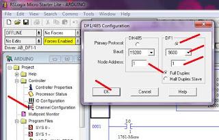 DF1 Setting of Allen Bradley MicroLogix 1000 PLC