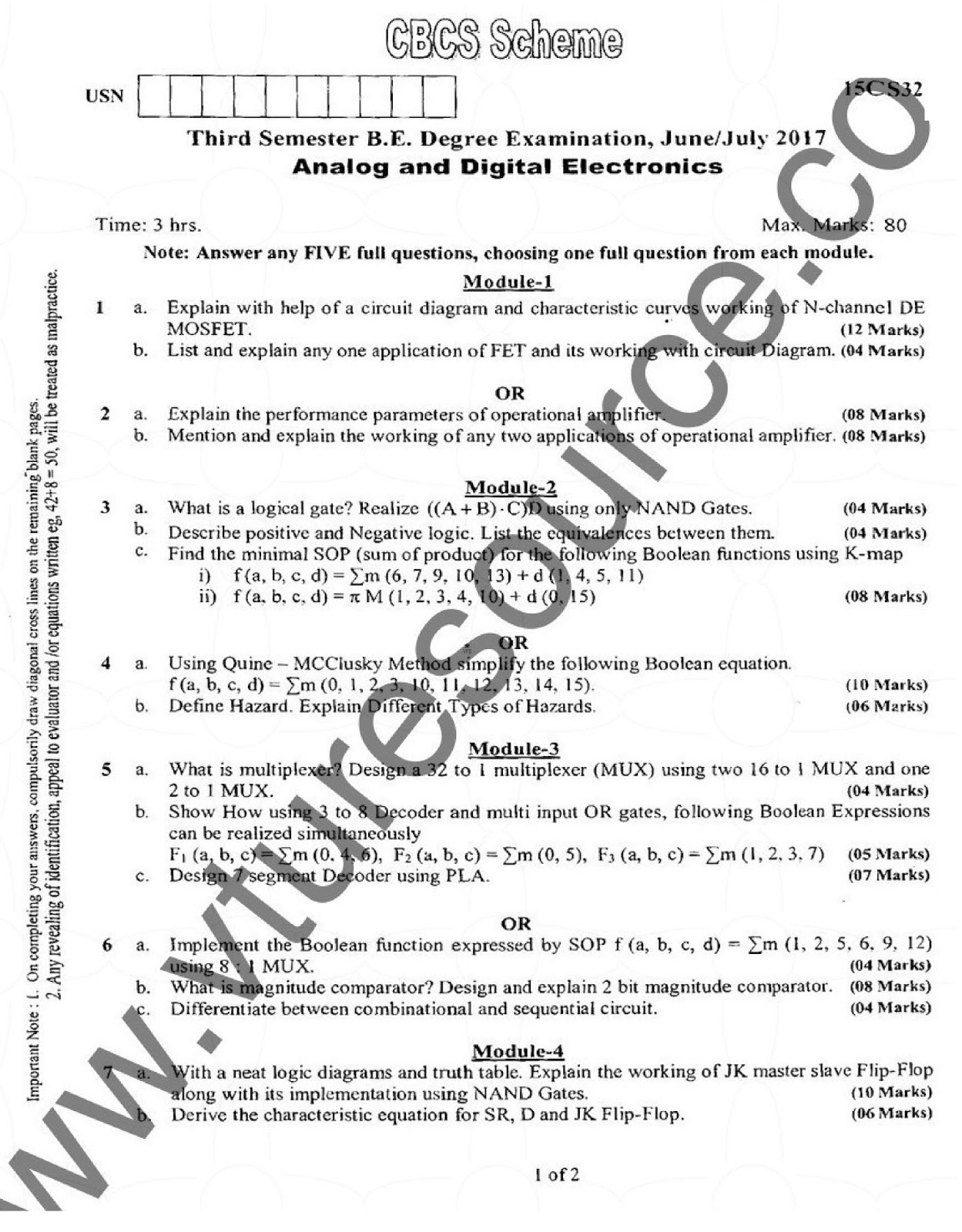 e-Paatashala: VTU BE 3rd Semester CSE Question Paper
