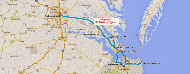 map of Virginia's 100 Miles of Lights