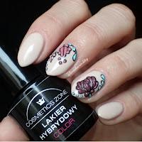 Manicure hybrydowy - Cosmetics Zone PST 1 Malaga + strukturalne kwiaty