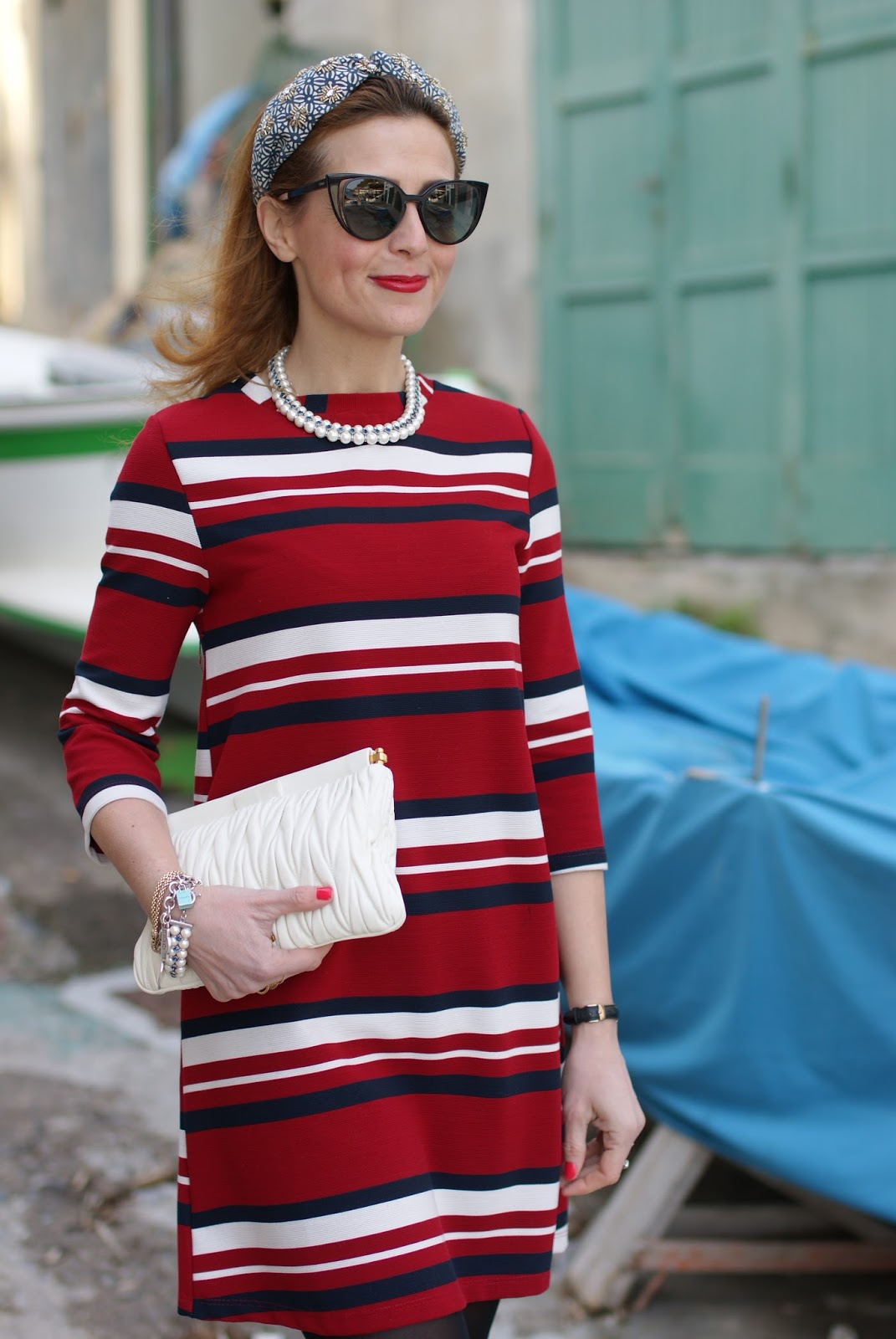 Striped Zara dress, Accessorize headband, Fendi sunglasses, vintage marine look on Fashion and Cookies fashion blog, fashion blogger style