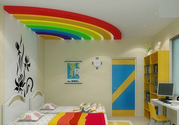 rainbow pop plaster of paris ceiling design for kids bedroom - Plaster Of Paris Wall Designs