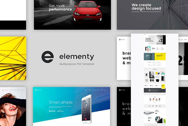 elementary psd website template