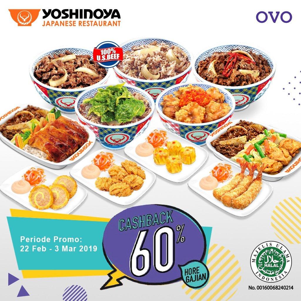 #Yoshinoya - #Promo Cashback 60% Maks 30 Ribu Pakai OVO (s.d 03 Maret 2019)