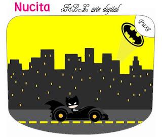 Etiqueta Nucita de Batman en Amarillo y Negro para imprimir gratis.