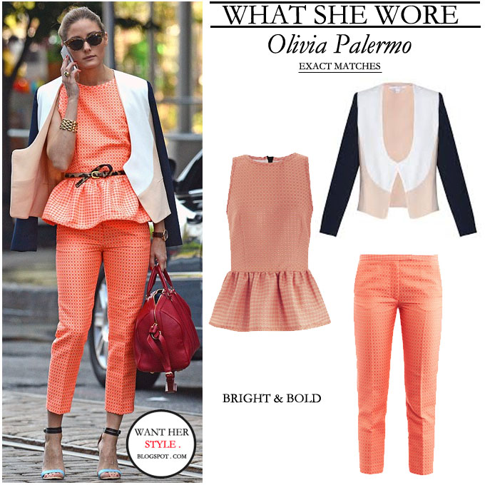 WHAT SHE WORE Olivia Palermo in bright neon orange pants and