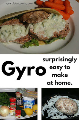 I love this step-by-step method for making Gyro at home. You start with assembling a meatloaf, made with lamb and seasoning, and then slow cook it. Slice thinly and top with sauce -- easy and delicious!