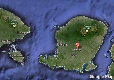 Lombok island in Google Map